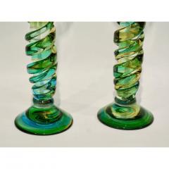 Cenedese Cenedese 1970s Vintage Italian Yellow Green Aqua Blue Murano Glass Candlesticks - 483376