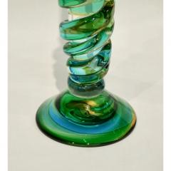 Cenedese Cenedese 1970s Vintage Italian Yellow Green Aqua Blue Murano Glass Candlesticks - 483377