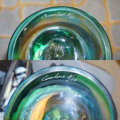 Cenedese Cenedese 1970s Vintage Italian Yellow Green Aqua Blue Murano Glass Candlesticks - 483379
