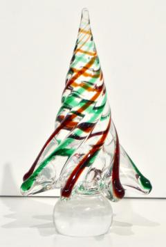 Cenedese Cenedese 1980 Italian Modern Green Red Clear Twisted Murano Glass Tree Sculpture - 2067744
