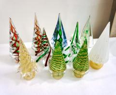 Cenedese Cenedese 1980 Italian Modern Green Red Clear Twisted Murano Glass Tree Sculpture - 2067749