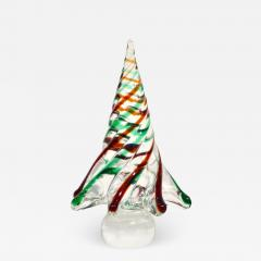 Cenedese Cenedese 1980 Italian Modern Green Red Clear Twisted Murano Glass Tree Sculpture - 2069323