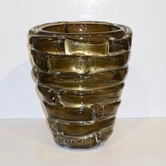 Cenedese Cenedese 1980s Italian Modern Crystal and Gold Murano Glass Urban Sculpture Vase - 1316085