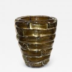 Cenedese Cenedese 1980s Italian Modern Crystal and Gold Murano Glass Urban Sculpture Vase - 1317961