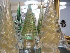 Cenedese Cenedese 1980s Italian Vintage Green and Gold Murano Glass Tree Sculpture - 1660435