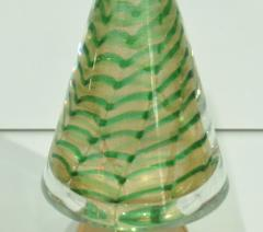 Cenedese Cenedese 1980s Italian Vintage Green and Gold Murano Glass Tree Sculpture - 1660439