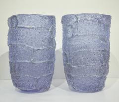 Cenedese Cenedese Italian Pair of Pink Amethyst Aqua Blue Alexandrite Murano Glass Vases - 1059520