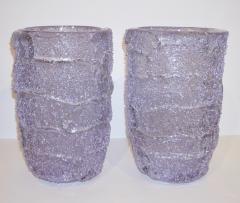 Cenedese Cenedese Italian Pair of Pink Amethyst Aqua Blue Alexandrite Murano Glass Vases - 1059521