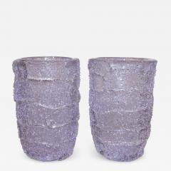 Cenedese Cenedese Italian Pair of Pink Amethyst Aqua Blue Alexandrite Murano Glass Vases - 1059961