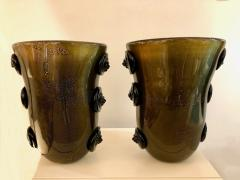 Cenedese Cenedese Vintage Pair of Pure Gold and Black Murano Glass Vases with Lion Heads - 686739