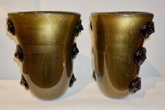Cenedese Cenedese Vintage Pair of Pure Gold and Black Murano Glass Vases with Lion Heads - 686742