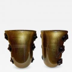 Cenedese Cenedese Vintage Pair of Pure Gold and Black Murano Glass Vases with Lion Heads - 687343