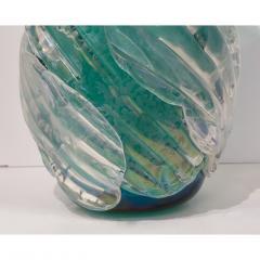 Cenedese Italian Modern Pair of Iridescent Emerald Green Murano Glass Sculpture Vases - 1592140
