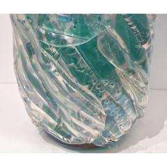 Cenedese Italian Modern Pair of Iridescent Emerald Green Murano Glass Sculpture Vases - 1592141