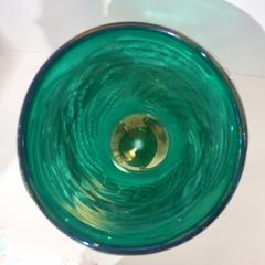Cenedese Italian Modern Pair of Iridescent Emerald Green Murano Glass Sculpture Vases - 1592142