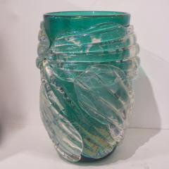 Cenedese Italian Modern Pair of Iridescent Emerald Green Murano Glass Sculpture Vases - 1592143