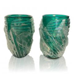 Cenedese Italian Modern Pair of Iridescent Emerald Green Murano Glass Sculpture Vases - 1592145
