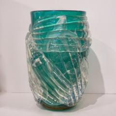 Cenedese Italian Modern Pair of Iridescent Emerald Green Murano Glass Sculpture Vases - 1592146