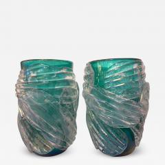 Cenedese Italian Modern Pair of Iridescent Emerald Green Murano Glass Sculpture Vases - 1594564