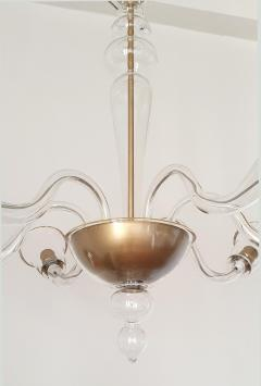 Cenedese Large clear gold Murano glass Mid Century Modern chandelier by Cenedese - 1003885