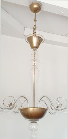 Cenedese Large clear gold Murano glass Mid Century Modern chandelier by Cenedese - 1003888