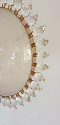 Cenedese Large sunflower Murano glass brass Mid Century Modern chandelier att Cenedese - 1069667