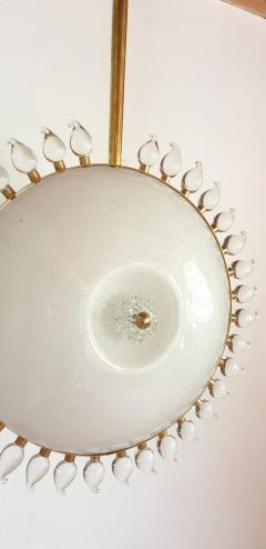 Cenedese Large sunflower Murano glass brass Mid Century Modern chandelier att Cenedese - 1069669