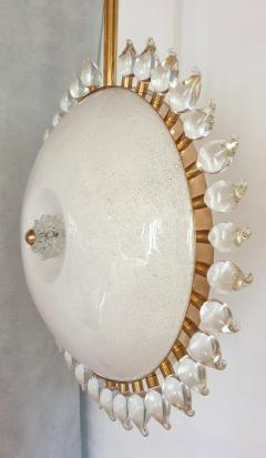 Cenedese Large sunflower Murano glass brass Mid Century Modern chandelier att Cenedese - 1069698