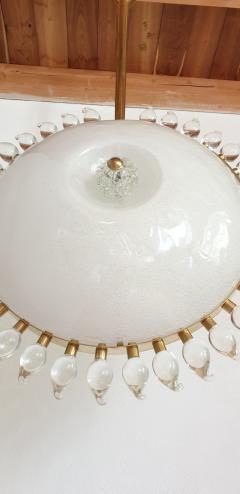 Cenedese Large sunflower Murano glass brass Mid Century Modern chandelier att Cenedese - 1069699