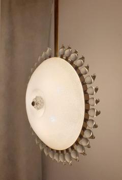 Cenedese Large sunflower Murano glass brass Mid Century Modern chandelier att Cenedese - 1069700
