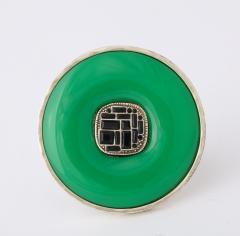 Chanel Chanel Green Glass Onyx Silver Ring - 1193764