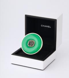Chanel Chanel Green Glass Onyx Silver Ring - 1193767