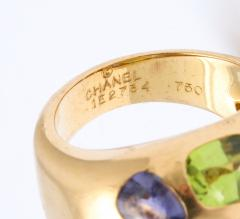 Chanel Vintage Chanel Gold Citrine and Semi Precious Stone Ring - 1276978