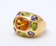 Chanel Vintage Chanel Gold Citrine and Semi Precious Stone Ring - 1276980