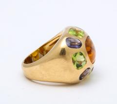 Chanel Vintage Chanel Gold Citrine and Semi Precious Stone Ring - 1276981