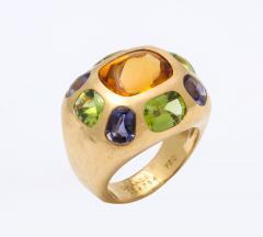 Chanel Vintage Chanel Gold Citrine and Semi Precious Stone Ring - 1276983