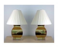 Chapman Manufacturing Company Pair Large Modern Geometrical Urn Shape Brass Lamps - 72371