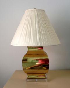 Chapman Manufacturing Company Pair Large Modern Geometrical Urn Shape Brass Lamps - 72372