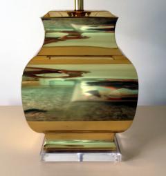 Chapman Manufacturing Company Pair Large Modern Geometrical Urn Shape Brass Lamps - 72374