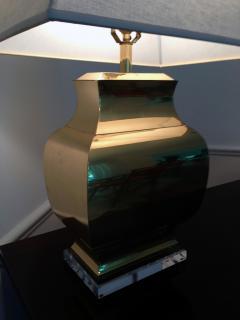 Chapman Manufacturing Company Pair Large Modern Geometrical Urn Shape Brass Lamps - 72375