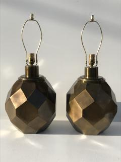 Chapman Manufacturing Company Pair of Geometric Faceted Sphere Lamps by Chapman - 530818