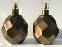Chapman Manufacturing Company Pair of Geometric Faceted Sphere Lamps by Chapman - 530819