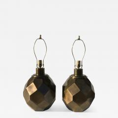 Chapman Manufacturing Company Pair of Geometric Faceted Sphere Lamps by Chapman - 532395