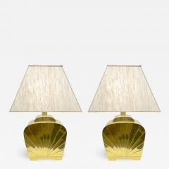 Chapman Mfg Co 1970s Chapman Vintage Art Deco Design Pair of Hollywood Regency Gold Brass Lamps - 1068931