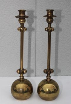 Chapman Mfg Co 1980s Brass Candleholders Attributed To Chapman - 1664651