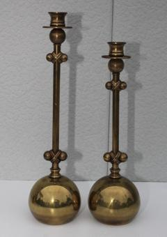 Chapman Mfg Co 1980s Brass Candleholders Attributed To Chapman - 1664654