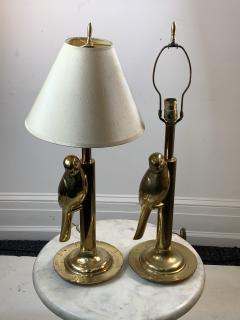 Chapman Mfg Co MODERN STYLIZED PAIR OF SCULPTURAL BRASS PARROT LAMPS - 1162820
