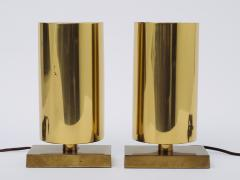 Chapman Mfg Co Pair of Modernist Lacquered Brass Table Sconces with Demilune Shades - 1327431