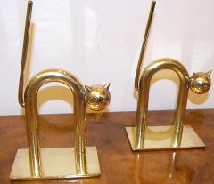 Chase Brass and Copper Company Art Deco Cat Bookends by Walter Von Nessen - 124573