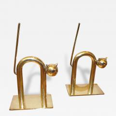 Chase Brass and Copper Company Art Deco Cat Bookends by Walter Von Nessen - 125351